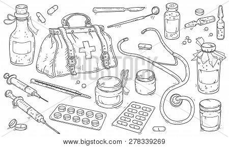 Medical Instruments And Doctor Bag, Pills And Medicine Bottles.