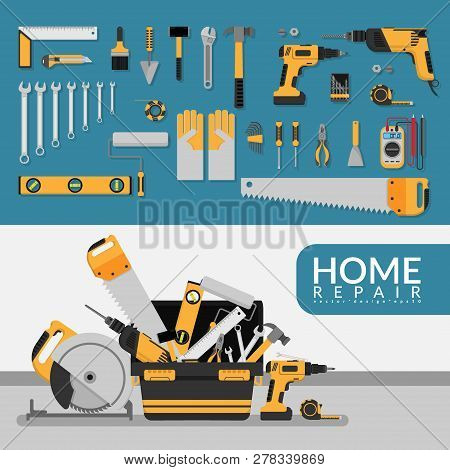 Home Repair Service Template With Set Of Diy Home Repair Working Tools. Home Repair Service Consulti