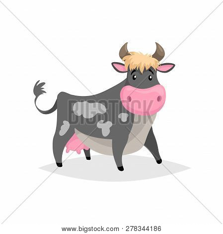 Cartoon Black Spotted Cow. Farm Funny Animal Isolated On White Background. Flat Trendy Style. Vector