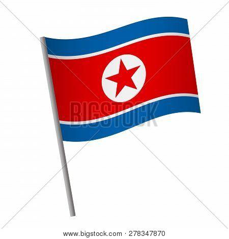 North Korea Flag Icon. National Flag Of North Korea On A Pole  Illustration.