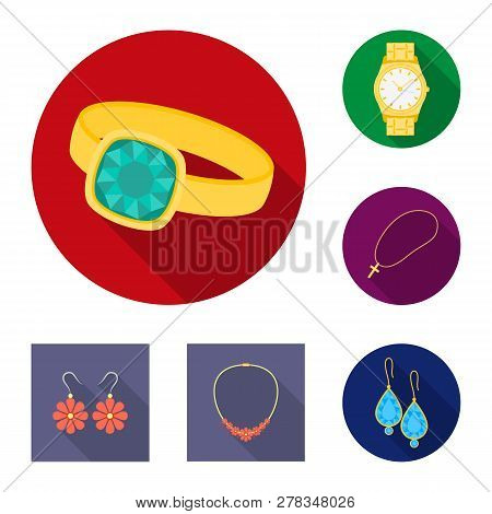 Vector design of jewelery and necklace symbol. Set of jewelery and pendent stock symbol for web. poster