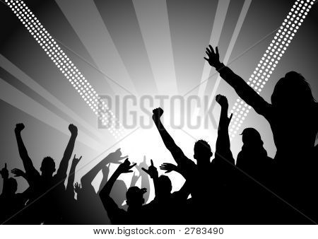 A huge crowd at a concert cheering! Similar images can be found at my gallery. poster