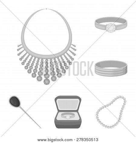 Vector design of jewelery and necklace logo. Set of jewelery and pendent stock symbol for web. poster