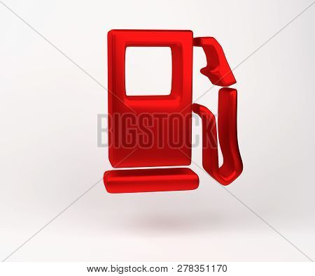 3d Rendering. Fuel Indicator Symbol Icon Isolated On White Background. Image Of Auto Spare Parts Lam