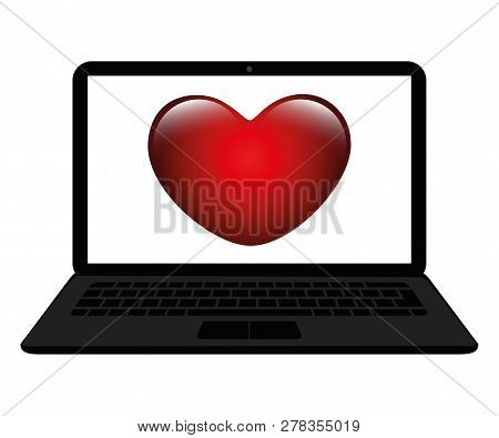 Red Heart In A Screen Of A Laptop Online Dating Concept Isolated On A White Background Vector Illust