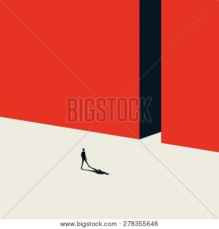 Business Opportunity Vector Concept In Minimalist Art Style. Businessman Walking Into Gate. Symbol O