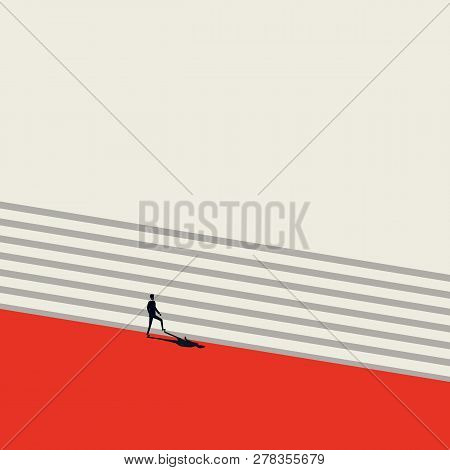 Business Career Growth And Promotion Vector Concept In Minimalist Art Style. Businessman Walking Up