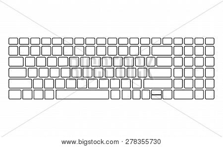Keyboard White Silhouette Pattern. Computer Vector Isolated Template. Black Version. Top View.