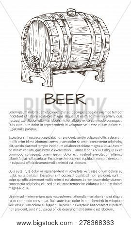 Ale Or Beer Wood Firkin Vector Illustration In Sketch Style On Neutral Background. Monochrome Poster