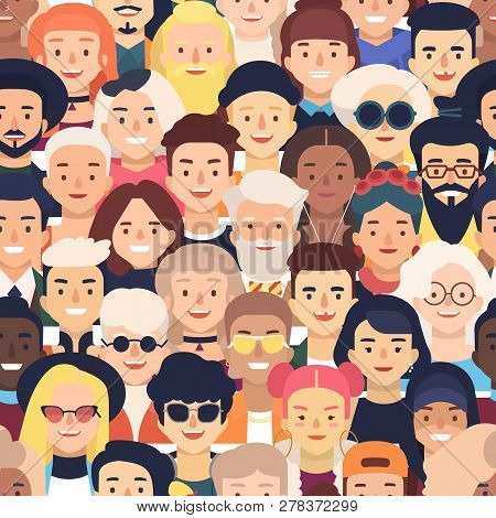Seamless Pattern With Faces Or Heads Of Joyful People. Backdrop With Crowd Of Old And Young Men And