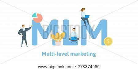 Mlm, Multi Level Marketing. Concept With Keywords, Letters, And Icons. Flat Vector Illustration. Iso