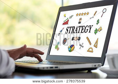 Strategy Concept With Laptop On Work Desk