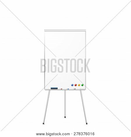 Blank Magnetic Tripod Dry Erase Whiteboard Isolated On White Background. Realistic Tripod Flipchart
