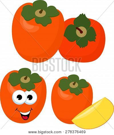 Persimmon With Leaves Whole And Slices Of Persimmons. Raster Illustration Of Persimmon. Funny Cartoo