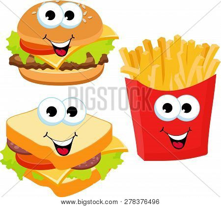 Fast Food Set Hamburger, Sandwich And French Fries Isolated On White Background. Fast Food Smile Ras