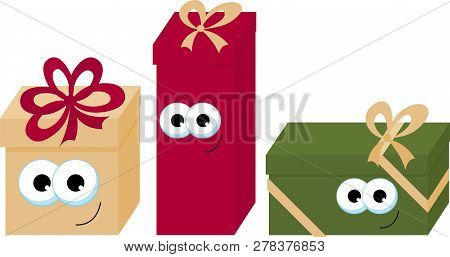Colorful Wrapped Smiling Gift Boxes With Eyes. Beautiful Present Box With Bow. Gift Box Icon. Gift S
