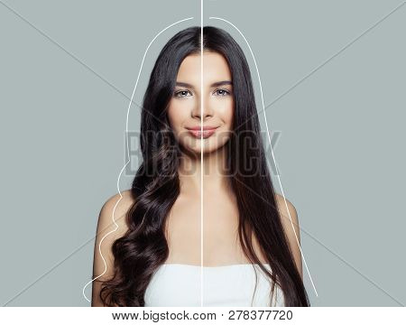 Woman Brunette With Curly And Straight Hair After Using A Hair Straightener And Hair Ironing. Hair C