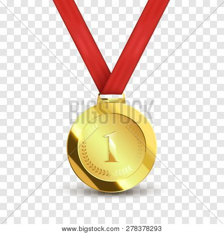 Medal With Red Ribbon Isolated On White Background. Trophy Award. Vector Illustration