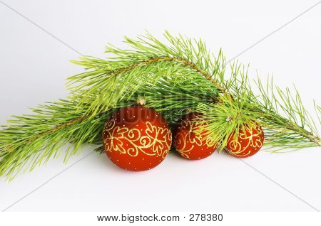 Red Balls With Pine Branch #1