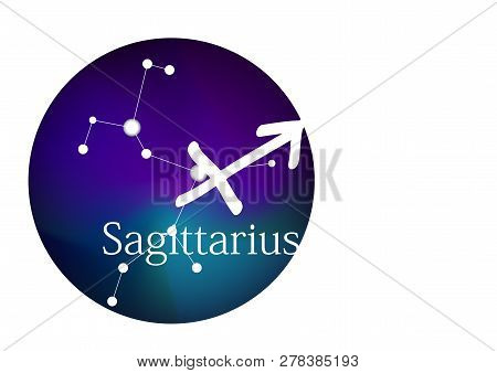 Zodiac sign Sagittarius for horoscope, constellation and symbol in round frame, copy space poster