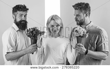Girl popular receive lot men attention. Men competitors with bouquets flowers try conquer girl. Girl smiling reject gifts. Feminism concept. Woman smiling reject both male partners. Out of relations poster
