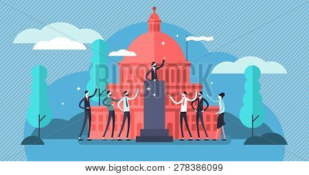 Government Vector Illustration. Flat Tiny Political Speech Persons Concept. Democratic Election Camp