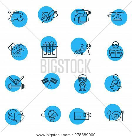 Vector Illustration Of 16 Lifestyle Icons Line Style. Editable Set Of Yoga, Chemistry, Postcrossing