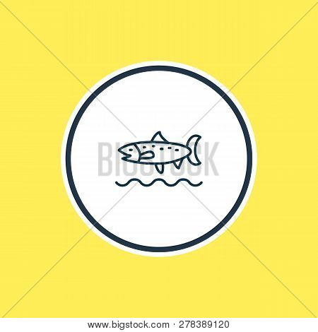 Vector Illustration Of Trout Fish Icon Line. Beautiful Maritime Element Also Can Be Used As Codfish