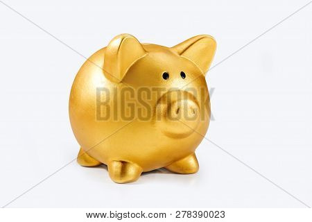 Piggy Bank Isolated Over White Background. Chinese New Year. Year Of The Earth Pig