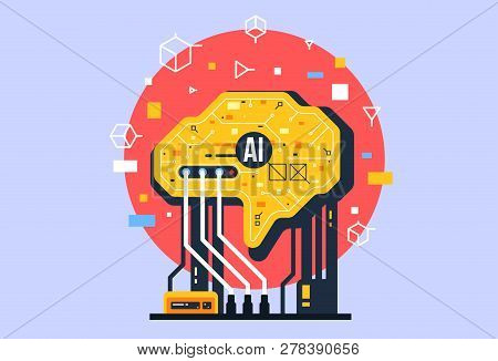 Ai, Artificial Intelligence Icon Concept, Brain With Electronic Neurons. Flat Vector Illustration. A