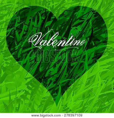 Green Grass Background With Darker Grass Love Heart And Valentine Decorative Floral Text