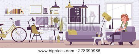 Freelancer Girl Room Interior, Modern Home Office Design. Female Freelance Worker Doing Online Job,
