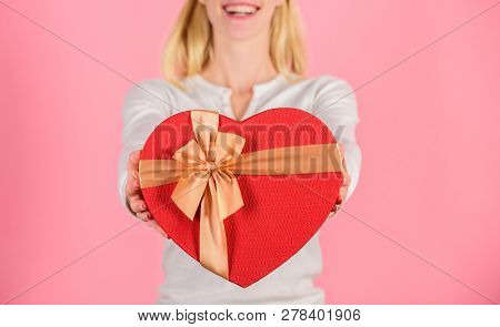 Romantic Surprise Gift For Him. Female Hands Hold Gift Box. Prepared Something Special For Him. She