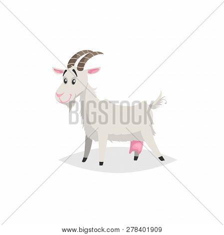 Cute Funny Goat. Cartoon Flat Style Trendy Design Farm Domestic Animal. Vector Illustration Isolated