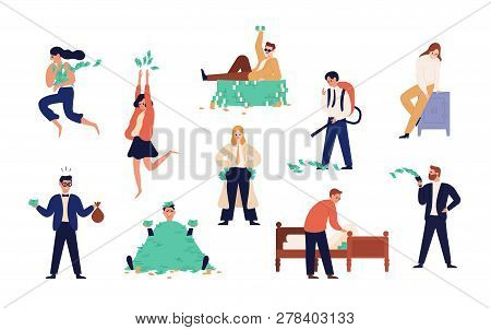 Bundle Of Rich Men And Women Isolated On White Background. Set Of Careless Wealthy People, Moneybags