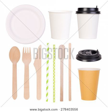 Disposable paper plate and cups and wooden cutlery isolated on white background