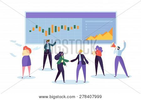 Online Trade Stock Chart Analisys Character. Trader Sell Business Signal Kpi Diagram. Man Monitoring Finance Currency Growth Grapgh. Data Analyst Stockbroker Flat Cartoon Vector Illustration poster