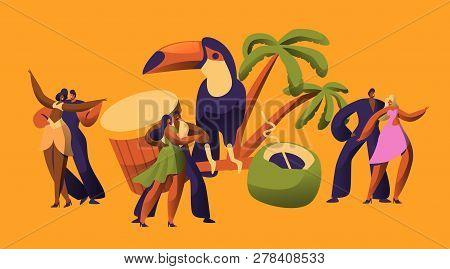 Brazilian Samba Carnival Dancer Latino Character. Bikini Woman Dance Tropical Cuban Salsa. Latin Man