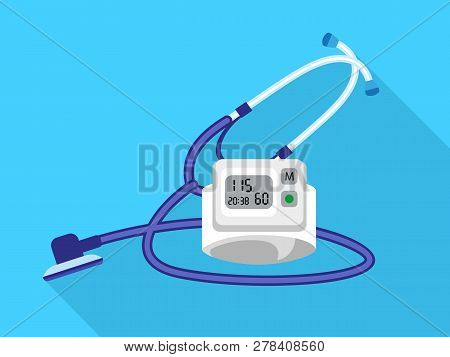 Stethoscope Blood Presure Device Icon. Flat Illustration Of Stethoscope Blood Presure Device Vector