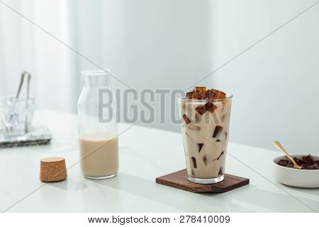 Grass Jelly Milk Tea In A Clean Glass