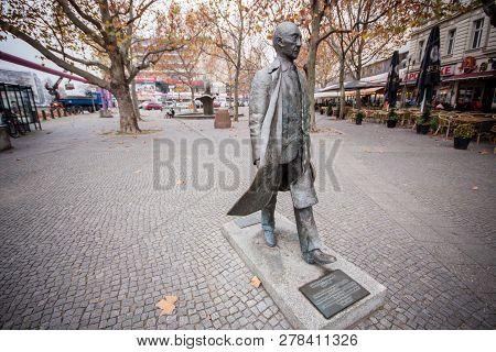 Berlin, Germany -  November 12, 2014:  Monument Of The First German Chancellor Konrad Adenauer Creat