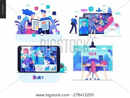 Business Series Set, Color 2 - Modern Flat Vector Concept Illustrated Topics - Articles, Contacts, A