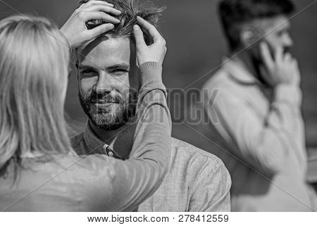 Face To Face Conversation Advantages Concept. Couple Having Fun While Busy Businessman Speak On Phon
