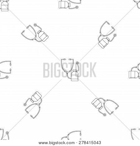 Stethoscope, Medical Bottle Icon. Outline Illustration Of Stethoscope, Medical Bottle Vector Icon Fo