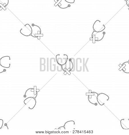 Stethoscope Cross Bandage Icon. Outline Illustration Of Stethoscope Cross Bandage Vector Icon For We