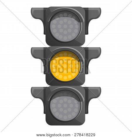 Crossroad Semaphore Yellow Light Icon. Cartoon Of Crossroad Semaphore Yellow Light Vector Icon For W