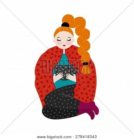 Girl In Warm Clothes Spending Autumn Or Winter Weekend At Home - Drink Tea. Hand Drawn Cute Cartoon