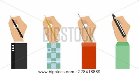 Men Hands With Writing Tools And Office Supplies Set. Flat Illustration Of Human Men Hands With Pen,