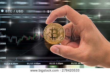 Hand Holding The Bitcoin Mockup Over The Cryptocurrency Trading Screen, Bitcoin Exchange Screen Of T