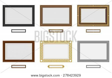 Frames For Photo Or Picture. Vector Wooden Frame Set. Picture Frame Vector On Wall. Vintage Set
